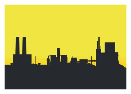 industrial area at the afternoon, silhouette illustration