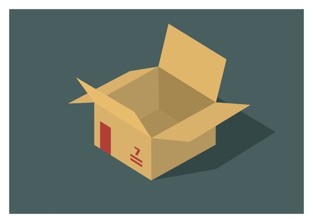 opened/unboxed paper box simple illustration Illustration