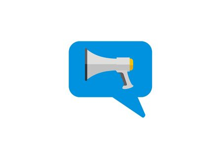 Simple blue icon of a megaphone Stock Illustratie