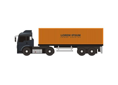 container truck simple illustration, side view Vector illustration. Ilustração