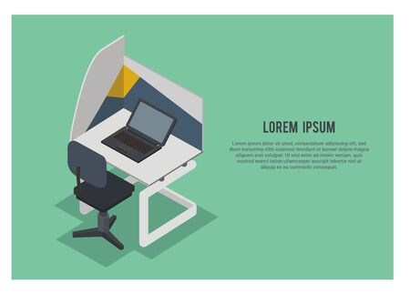 work office desk simple illustration