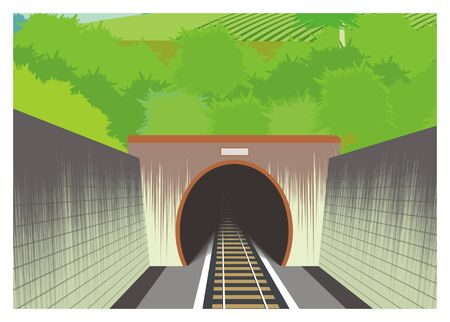 train tunnel simple illustration