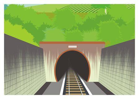 train tunnel simple illustration