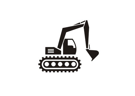 excavator simple icon with detailed wheel