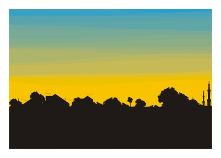 trees and home building silhouette