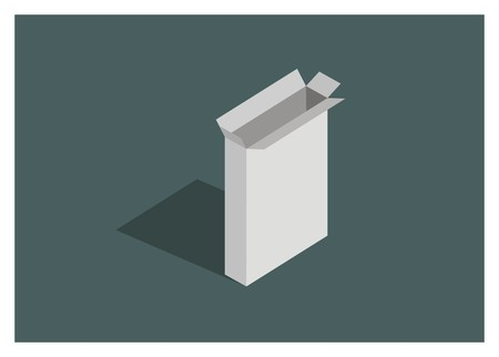 openedunboxed standing thin paper box simple illustration