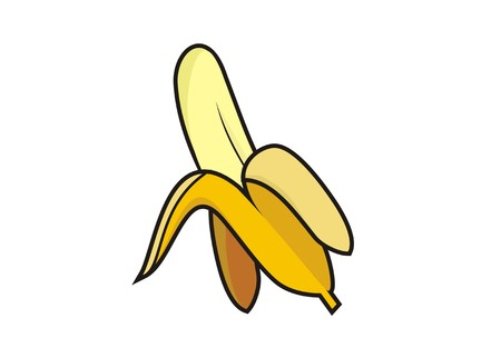 peeled banana simple illustration