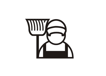 cleaning service person simple icon 일러스트