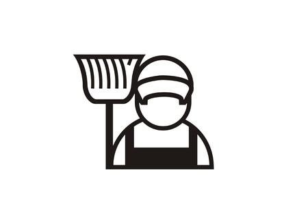 Reinigungsservice Person einfaches Symbol