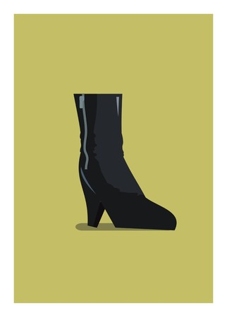 short high heel boot simple illustration