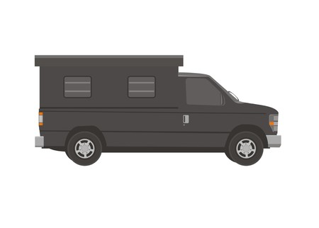 pick up car with box simple illustration