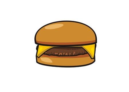 ilustración simple de hamburguesa con queso