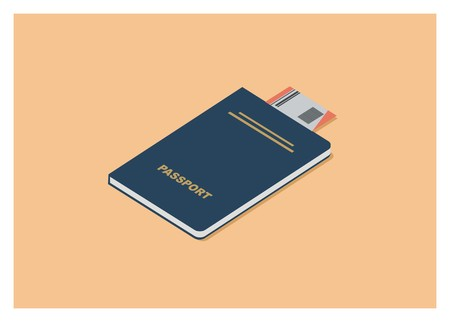 passport and ticket simple isometric illustration