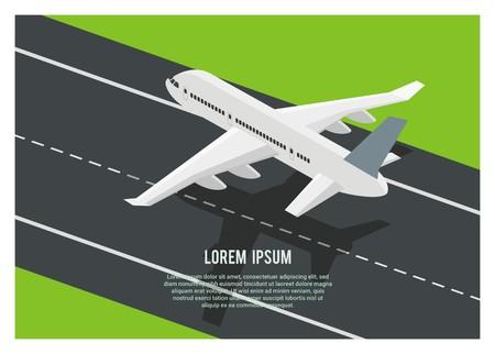 airplane landing/take off on the runway, simple isometric illustration Vektorové ilustrace