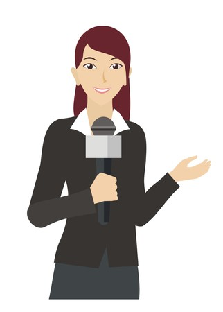 female anouncer/broadcaster simple illustration