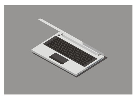 laptop with folded monitor, simple isometric illustration