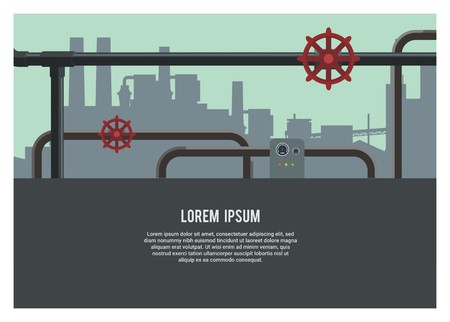 pipingplumbing system with industrial building silhouette background Illustration