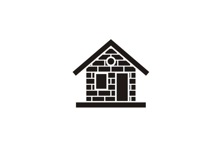 home with brick wall, simple icon