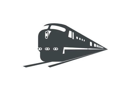 passenger train silhouette, perspective view