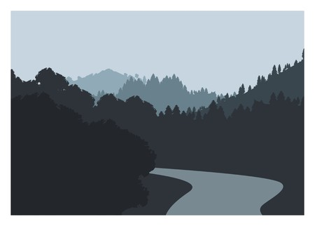 river splits the forest in the mountain Stock Illustratie
