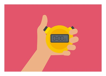 hand holding stopwatch simple illustration