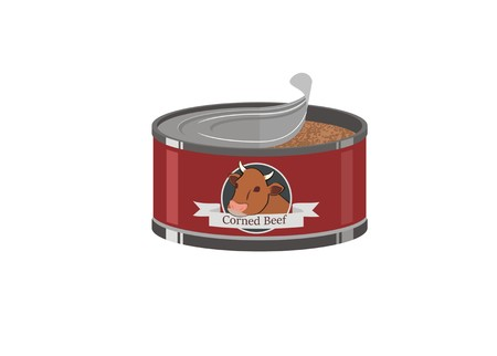 opened corned beef can simple illustration