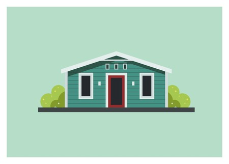 small wooden home building simple illustration Vettoriali