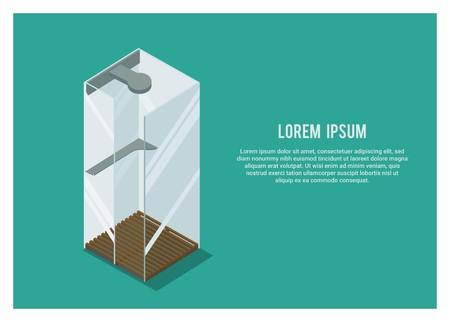 bathroom shower chamber simple illustration
