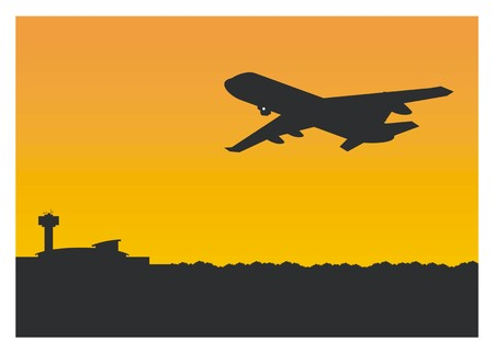 silhouette of an airplane take off/landing on the airport