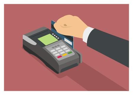 Mano deslizando la tarjeta de crédito en la máquina EDC, vista isométrica