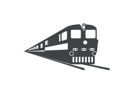 passenger train in silhouette style with perspective view