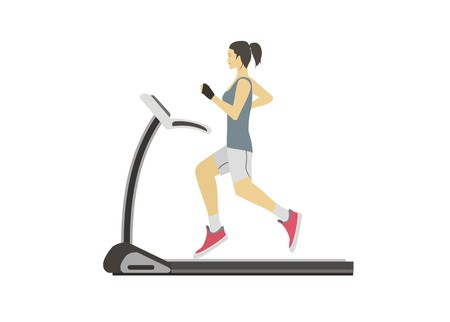 young woman running on a treadmill