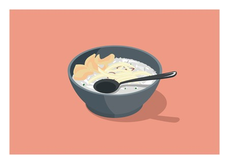 a bowl of chicken porridge/rice porridge Illustration