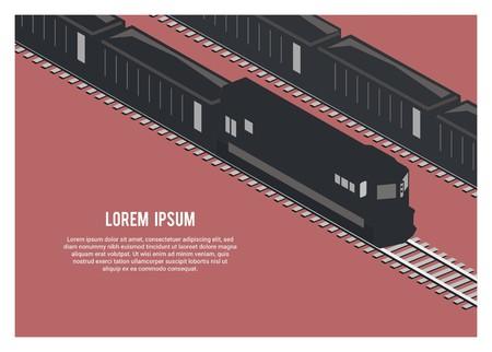 train de fret silhouette transportant du minerai/du charbon, illustration simple, vue isométrique