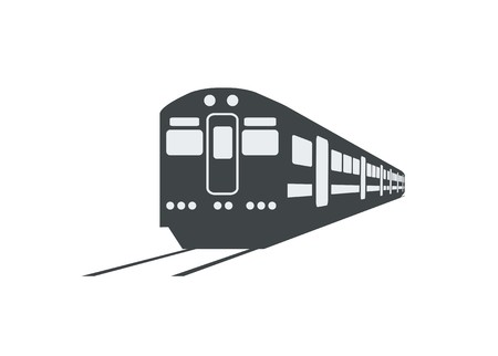 commuter train silhouette simple illustration in perspective view