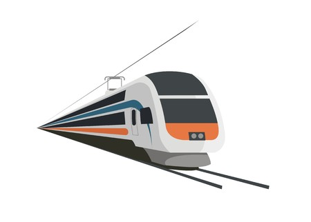 double decker fast train with catenary and wire Stock Illustratie
