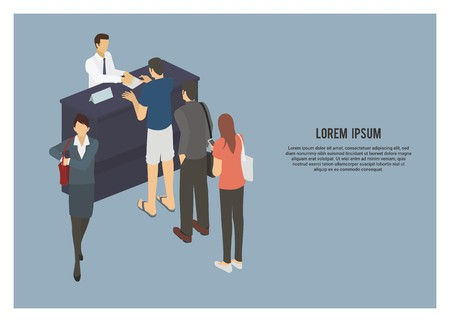 queue of people simple illustration in isometric view Vectores