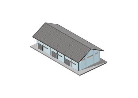 warehouse building with three sliding doors Vectores