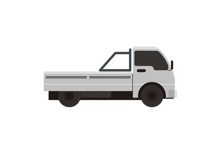empty white pick up car simple illustration Illustration