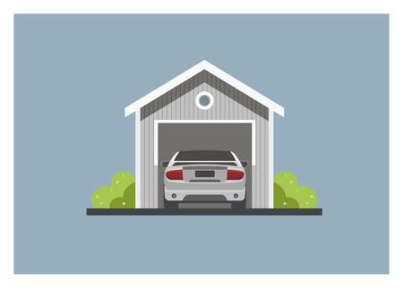 car inside the wooden garage, simple illustration Illusztráció