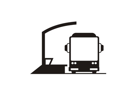 bus stop with diffable amenities simple icon  イラスト・ベクター素材