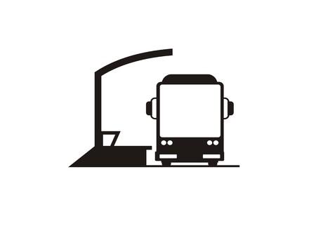parada de autobús con comodidades diffables icono simple