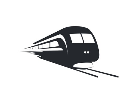 Fast train with separated windows, simple silhouette iconillustration
