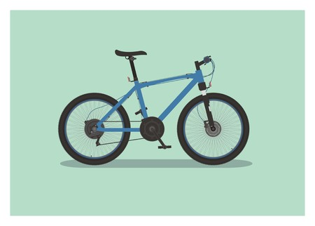 mountain bike with tall seat simple illustration