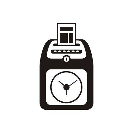 Attendance clock machine simple icon in black and white.