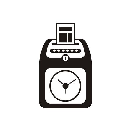 Attendance clock machine simple icon in black and white.