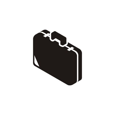 Suitcase icon. Simple illustration in black and white and isometric view.