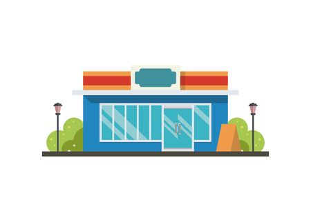 Convenience store building. Simple flat illustration Standard-Bild - 129787128