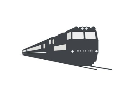 Double cabin electric diesel locomotive pulling passenger train. Silhouette style with perspective view