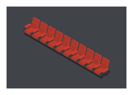 Row of theatre red seats. Illustration in isometric view Illustration